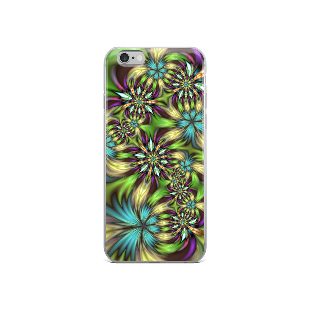 Green abstract Floral iPhone Case