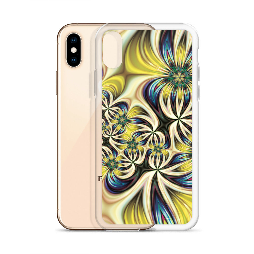 Yellow Abstract Floral iPhone Case