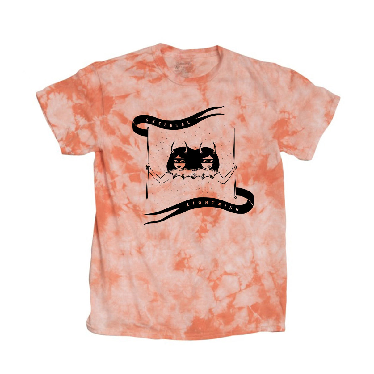 Skeletal Lightning Devil Girls Tie Dye T-Shirt