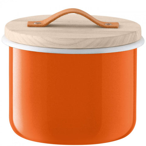 Enamel Canister with Oak lid, LSA