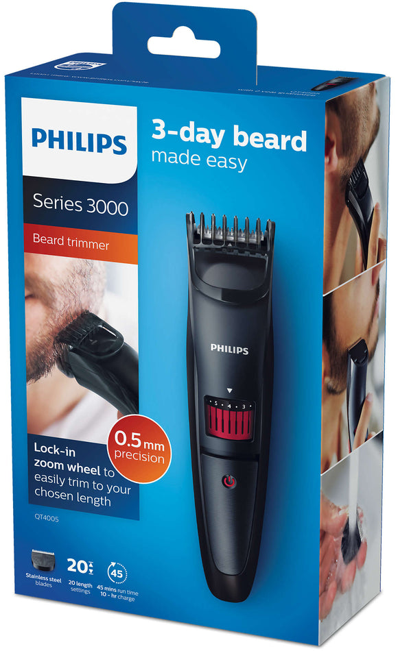<strong>PHILIPS <br> Beard Trimmer Séries 3000 - QT4005</strong> <br>Tondeuse à Barbe