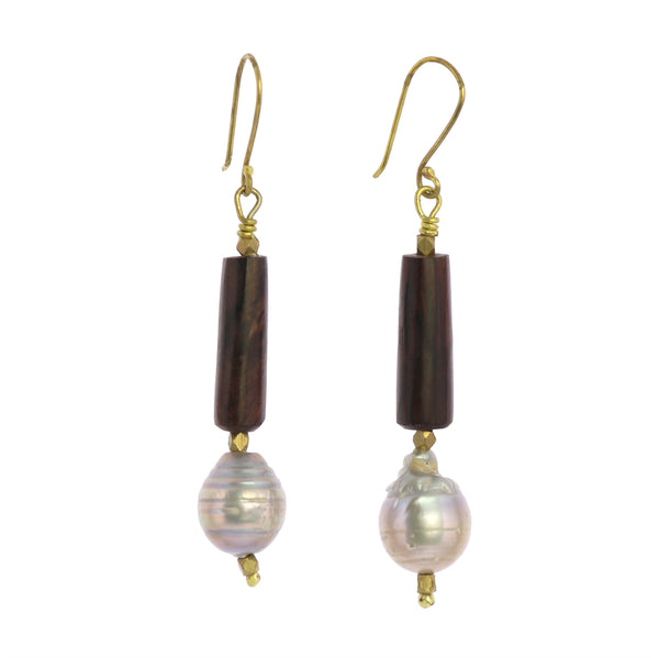 Pearl Brass and Wood Earrings