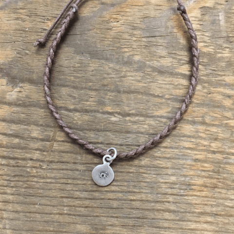 Round Pendant on Braided Bracelet