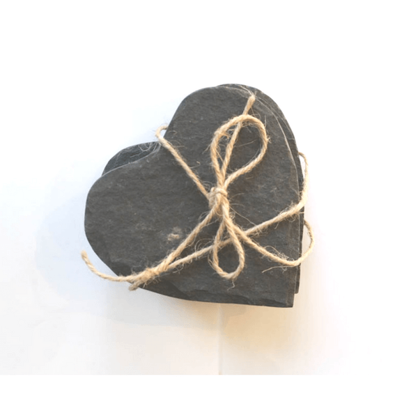 Black Slate Heart Shaped Coasters