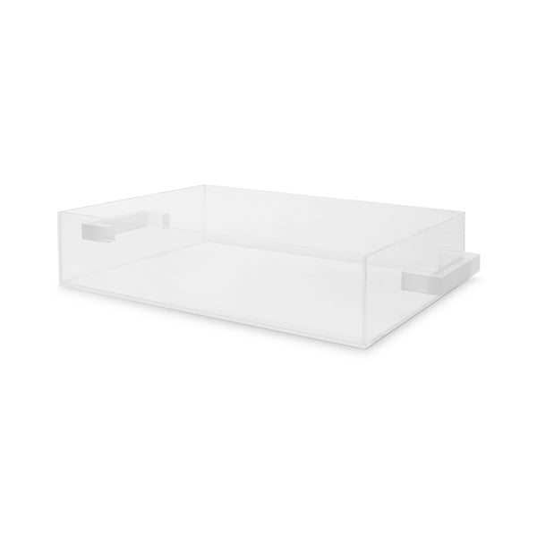 Clear Frosted Handle Tray Large