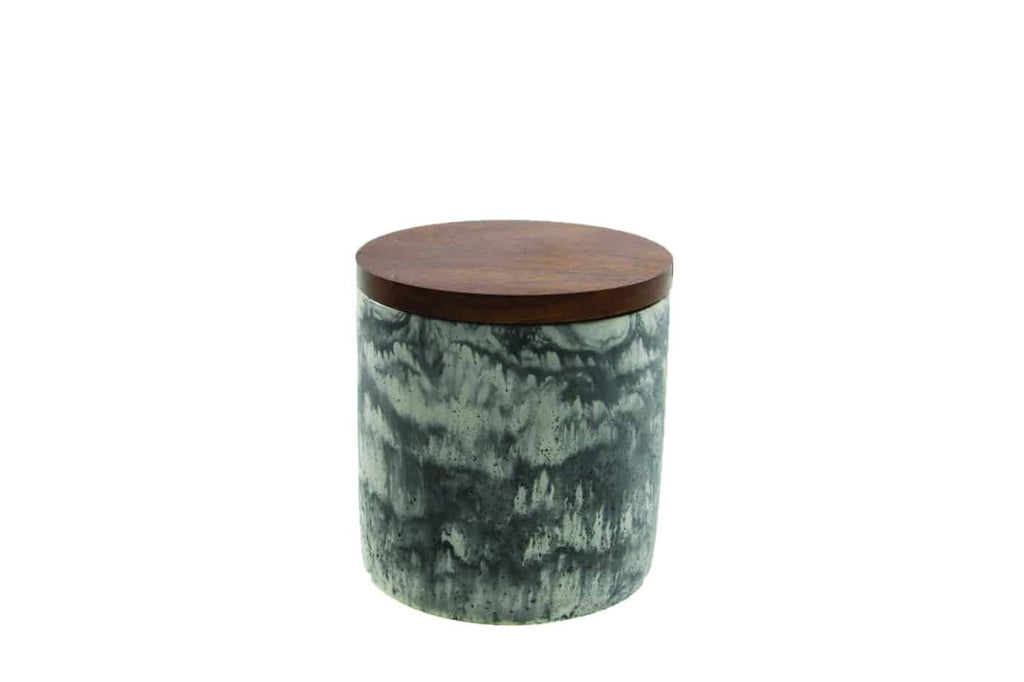 Marbled Cement Container with Wood Lid