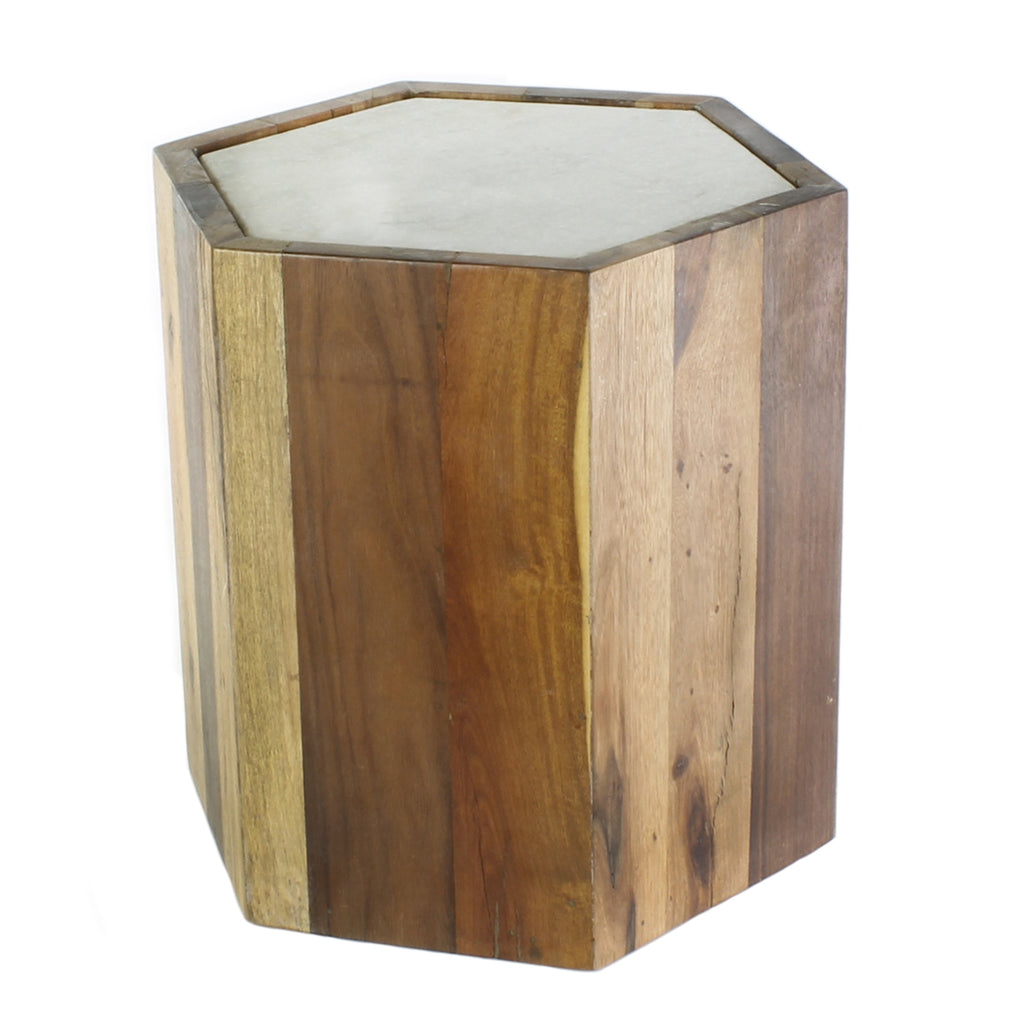 Wood Hexagon Table with Marble