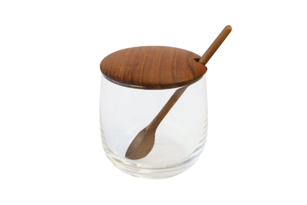 Glass Jar with Teak Lid & Spoon