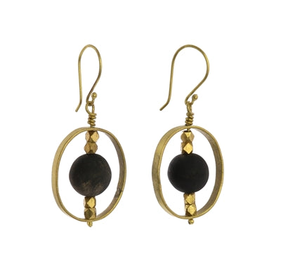 Brass Earring with Floating Horn Bead
