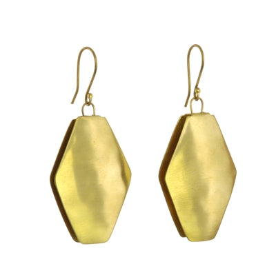 Brass Earring Elongated Hexagon