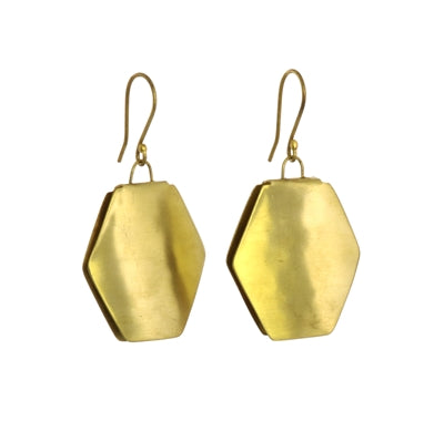 Brass Earring Hexagon
