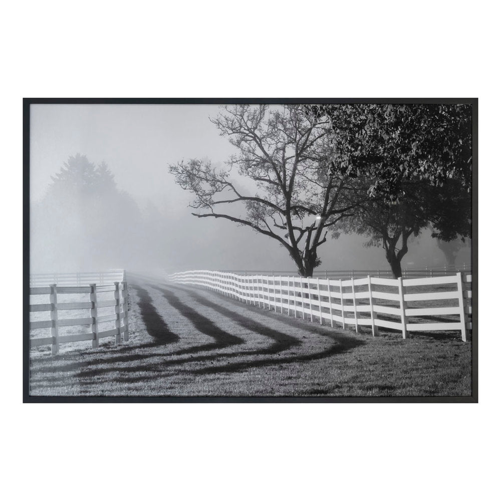 Fenced Pasture with Fog and Sunrise Art