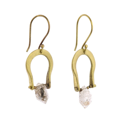 Brass Horseshoe Drop Earring