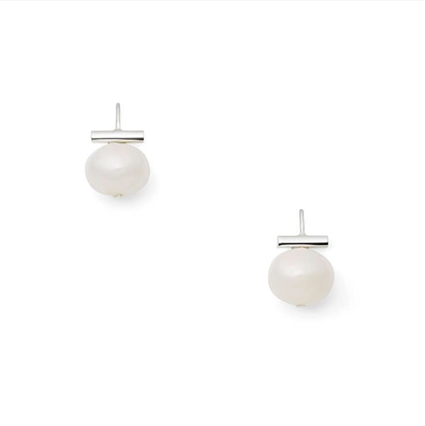 Classic White Large Pebble Earring Sterling