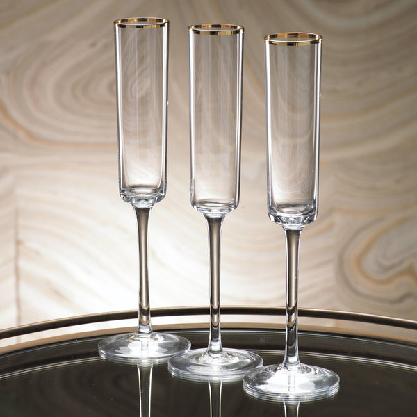 Tall Champagne Flute with Gold Rim
