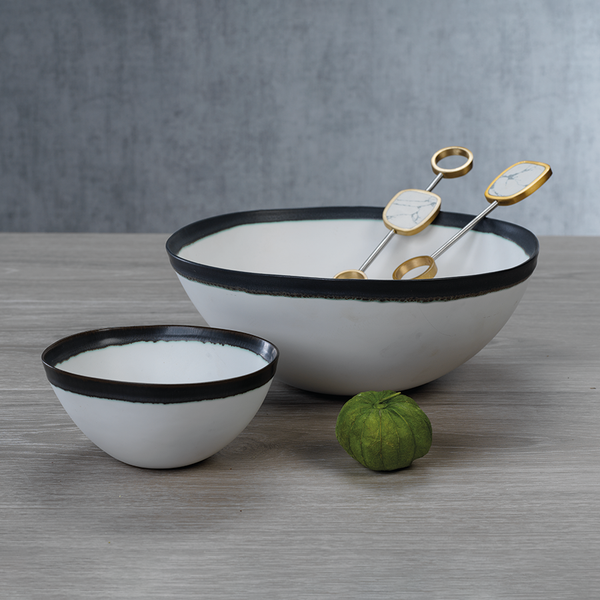 Trento White Ceramic Bowl with Black Volcanic Rim