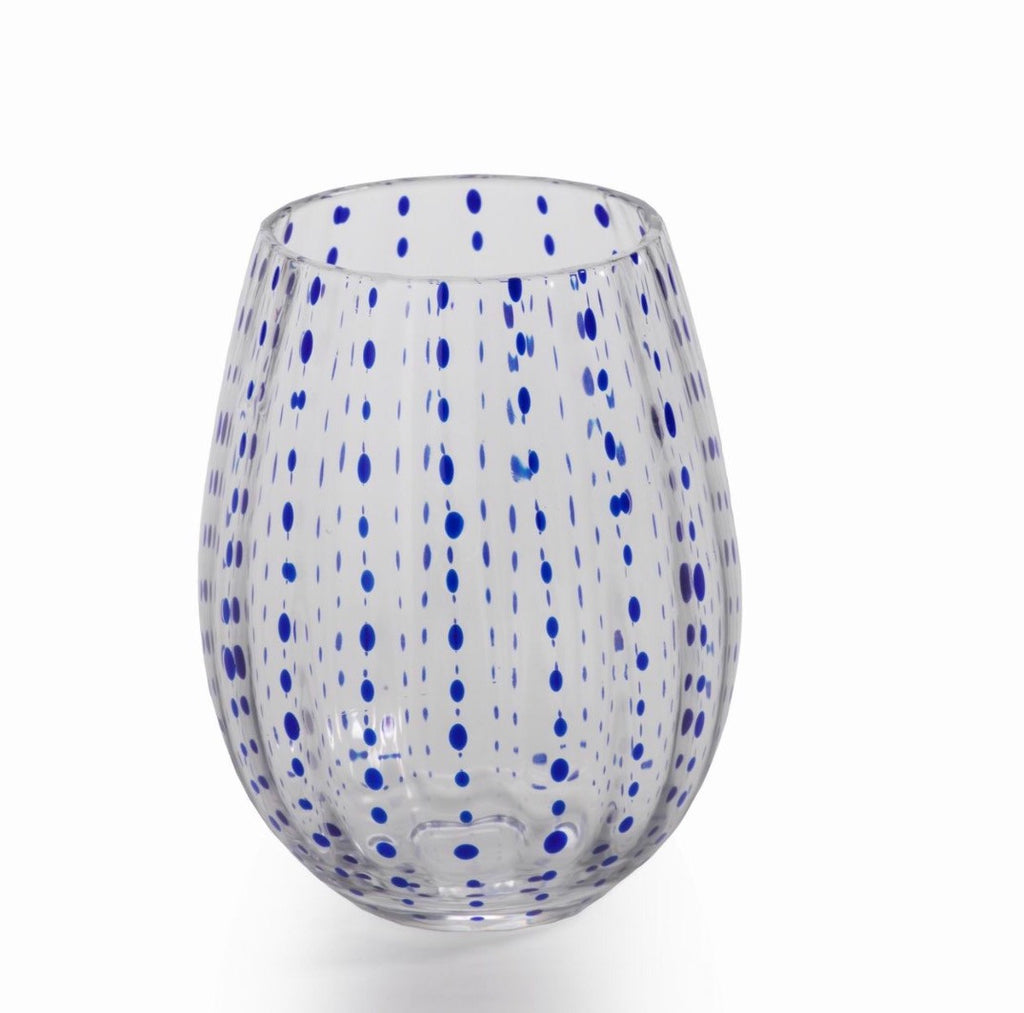 Blue Dot Stemless Wine Glass