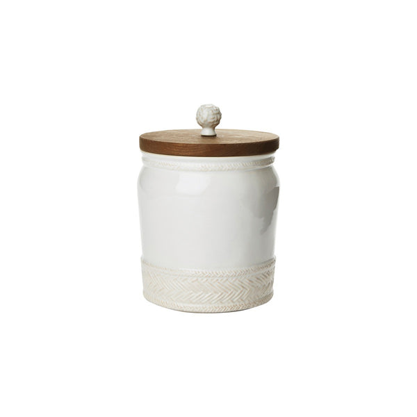 Le Panier Whitewash Canister with Wooden Lid