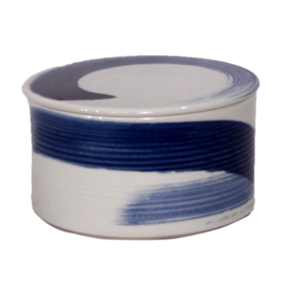 Blue and White Brushstroke Lidded Jar