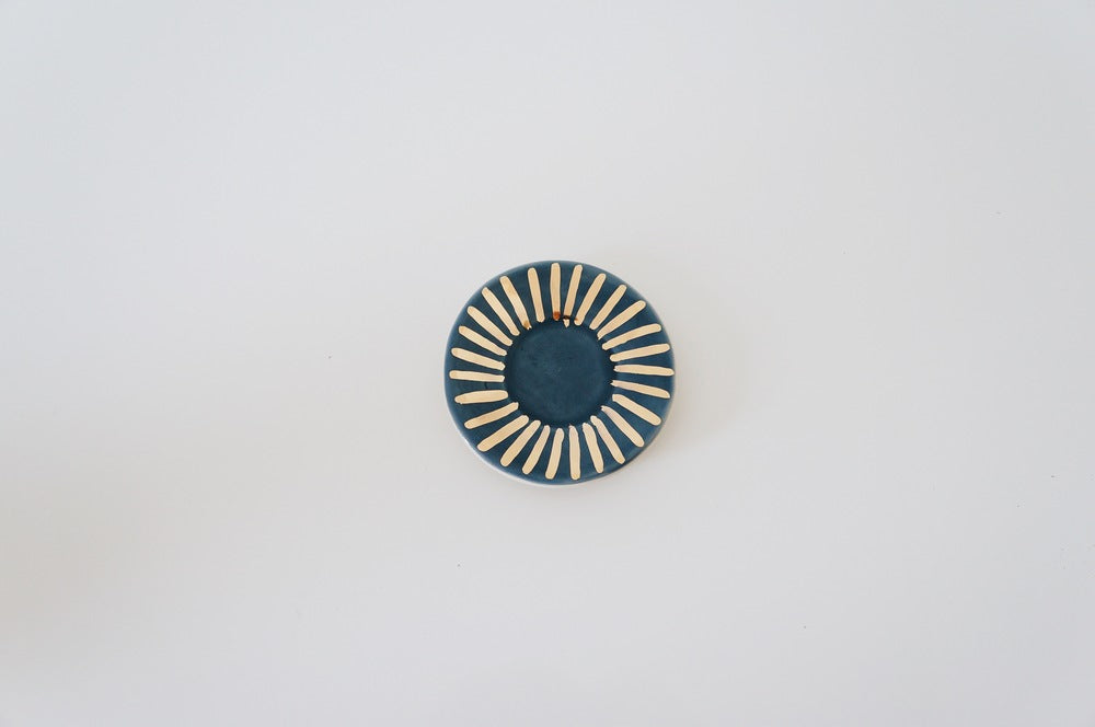 Navy + Gold Sunburst Ring Dish
