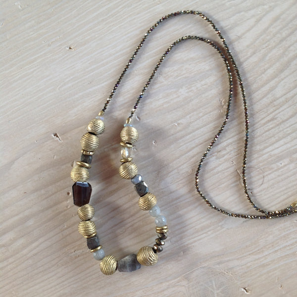 Labradorite and Bronze Pyrite Necklace