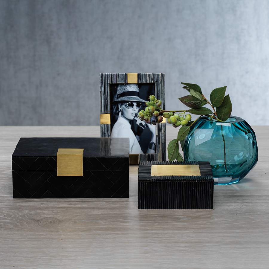 Black Resin Inlaid Box with Brass