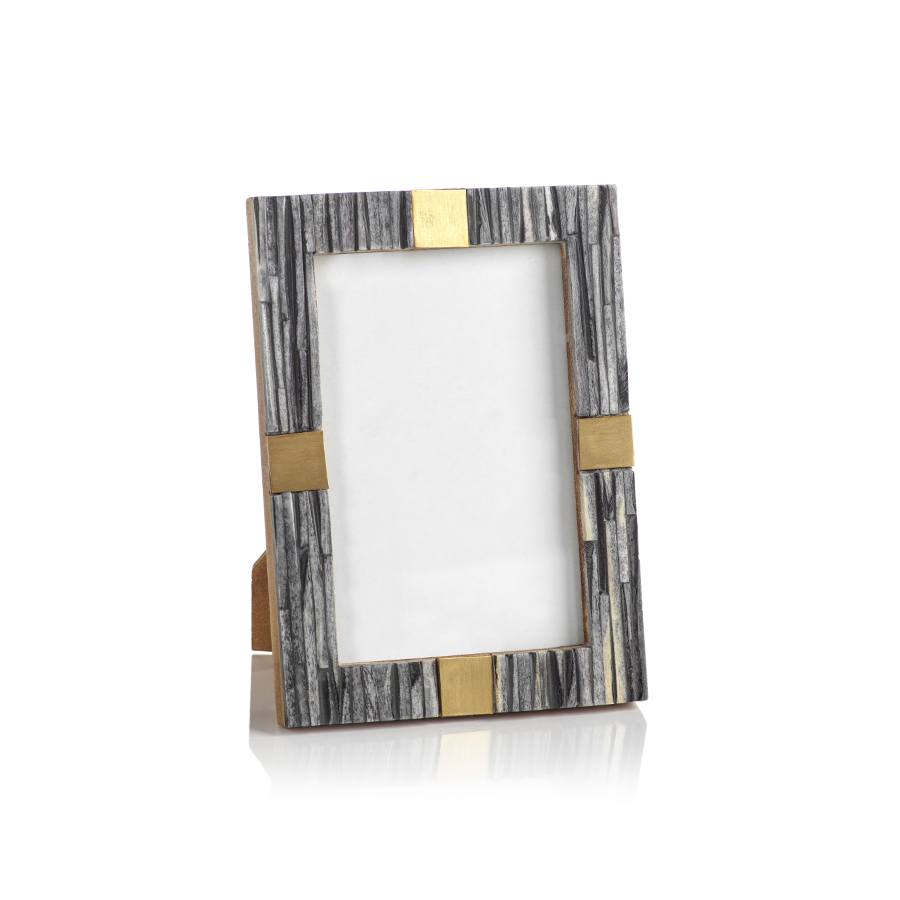 Ribbed Gray Bone Photo Frame with Brass Accent