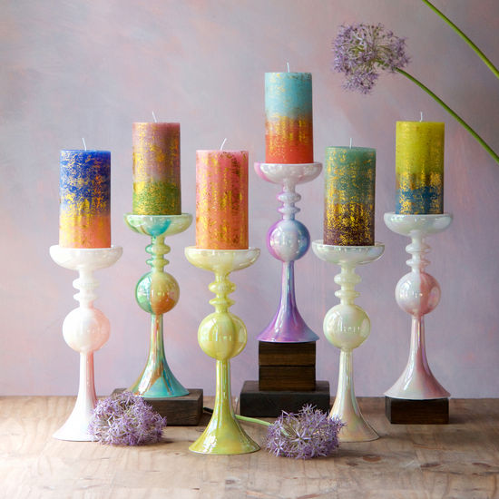Rainbow Sherbet Pillar Candle Holder