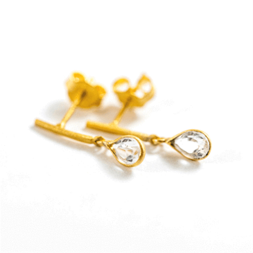 Gold Plated Crystal Drop Earrings