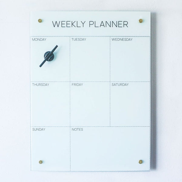 Glass Weekly Planner Magnet Board