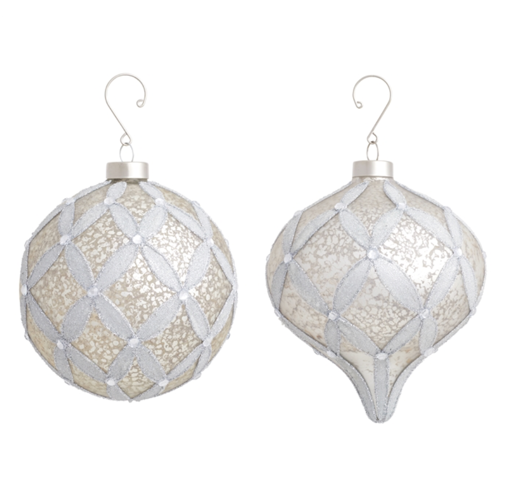 Antiqued Medallion Glass Ornaments