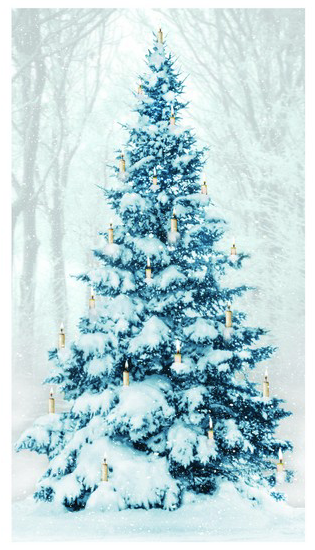 Lighted Large Candles Tree Canvas
