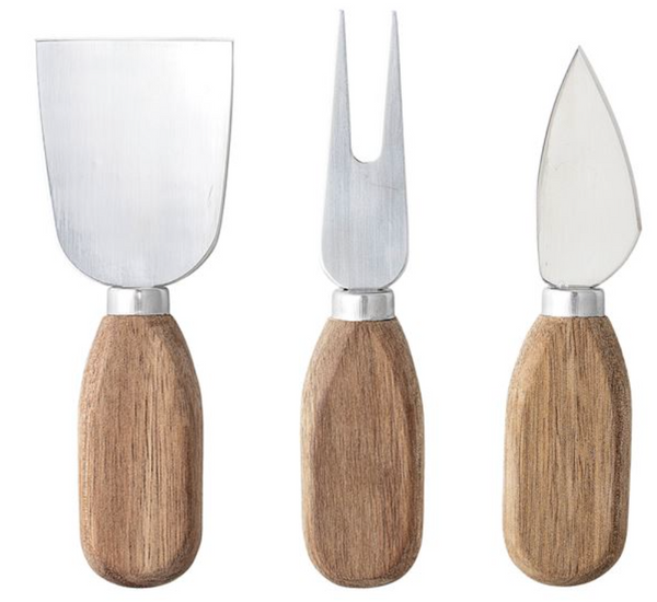 Stainless Steel & Acacia Wood Cheese Utensils