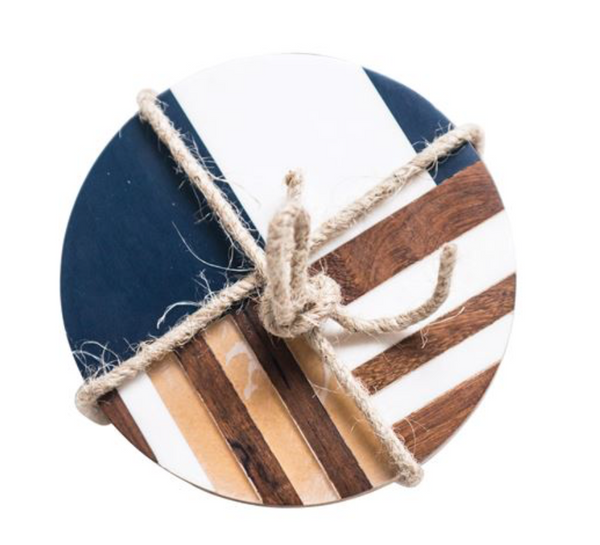 Round Resin & Wood Geometric Coasters