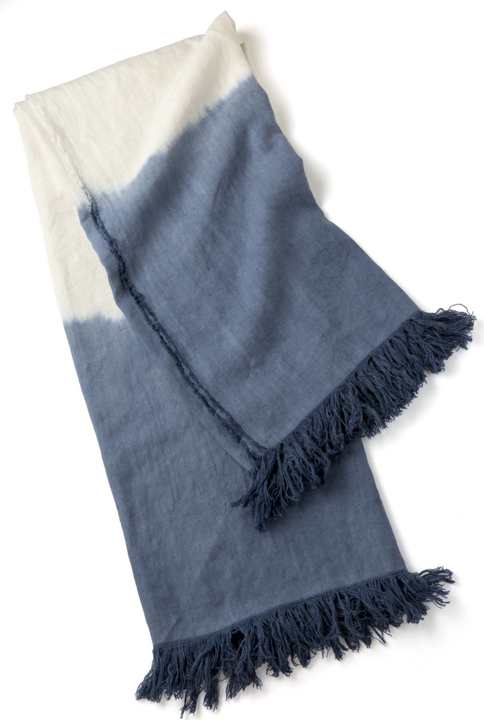 Dip Dyed Throw with Fringe