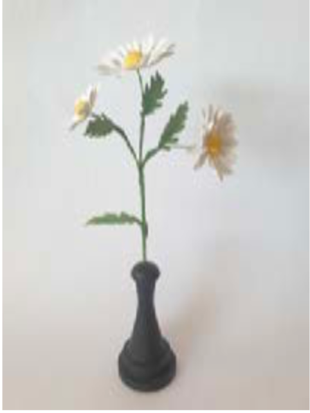 Painted Flowers With Wooden Base