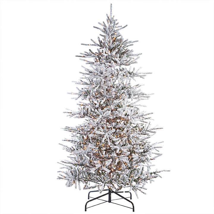 Pre-Lit Flocked Noble Fir Tree