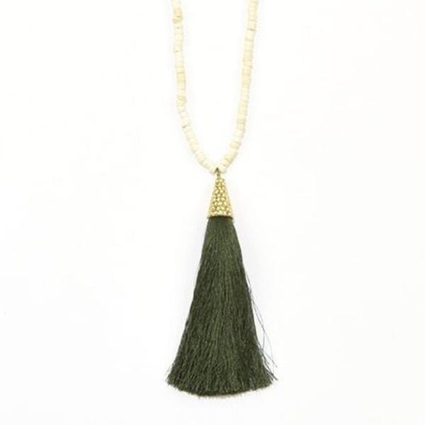 Tassel Necklace With Coconut Bead