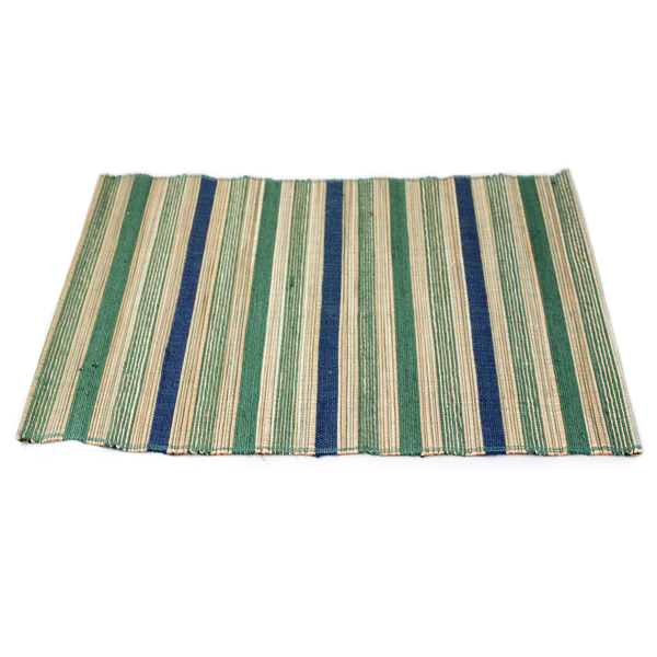 Blue/Green Stripe Jute Placemat