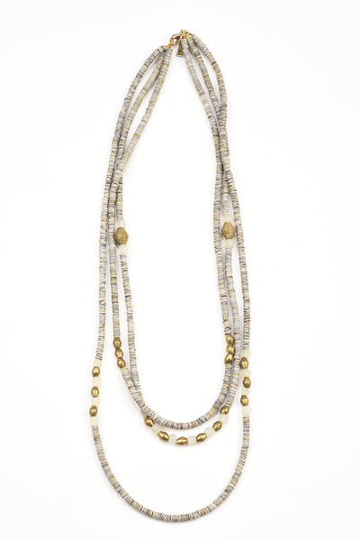 Glass and Brass Triple Strand Necklace