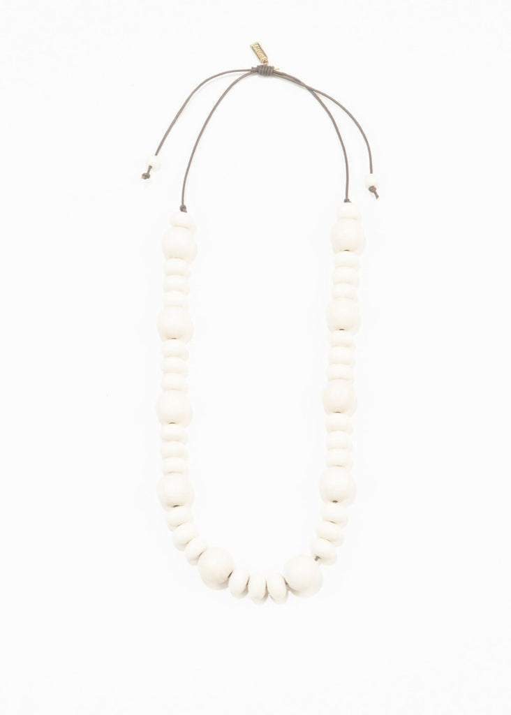 Adjustable White Wood Necklace