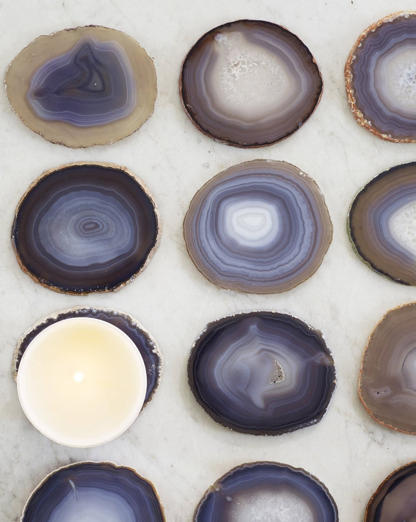Boxed Candle w/Agate Coaster