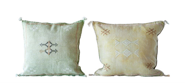 Square Hand-Loomed Cactus Silk & Cotton Pillow