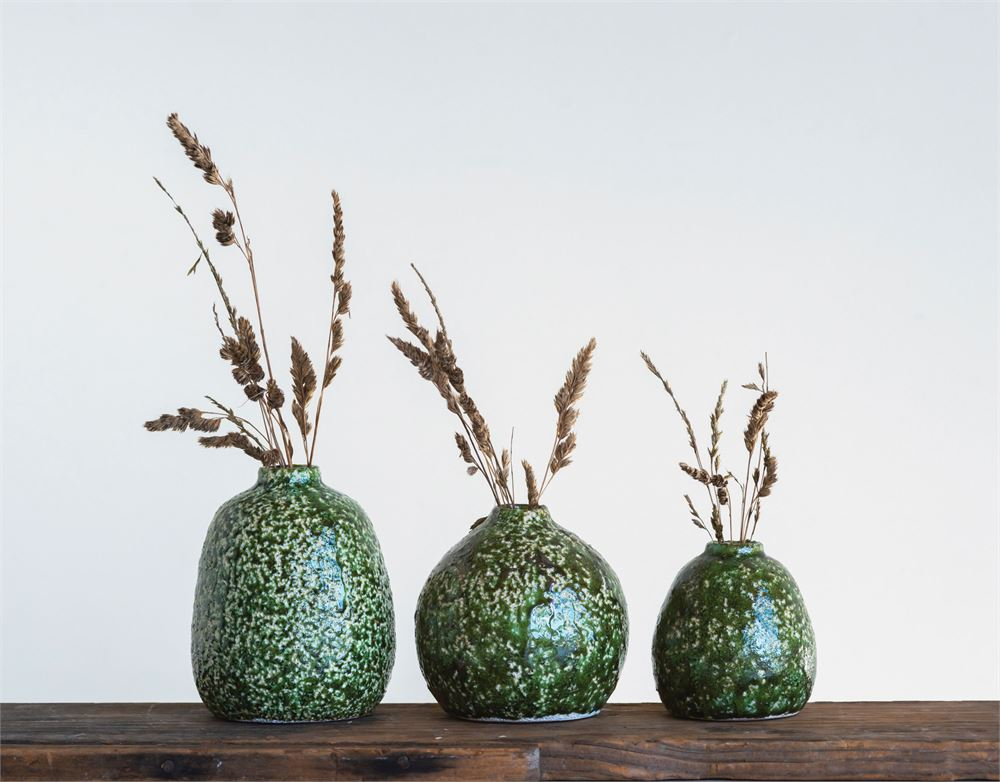 Distressed Green Terra-cotta Vases