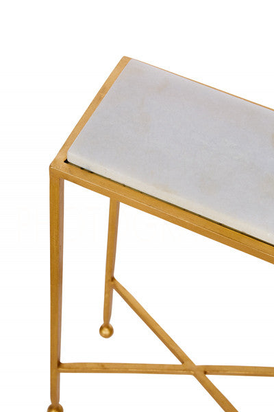 Side Table in Gold with Marble Top