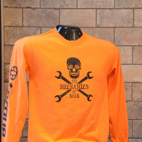 Unisex orange Mechanics of Beer long sleeve T