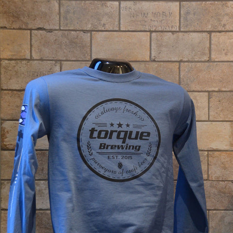 Unisex blue Torque crest long sleeve T