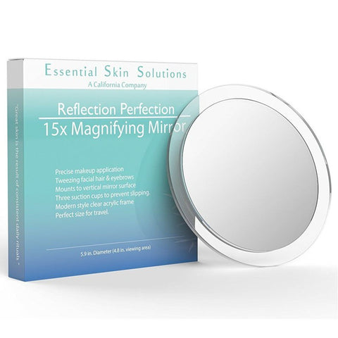 15X Magnifying Mirror - Perfect for Makeup Application - Essential Skin Solutions