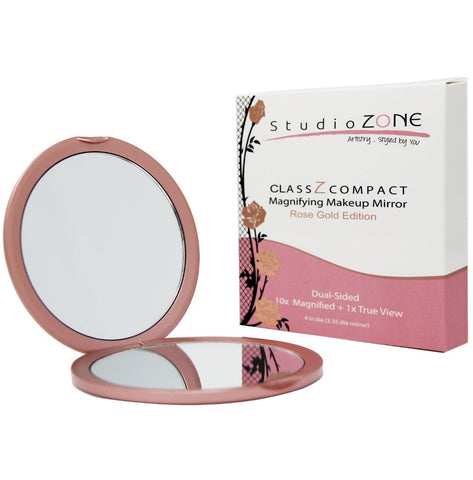 ClassZ Compact Mirror - Rose Gold Edition 10X and 1X - Essential Skin Solutions