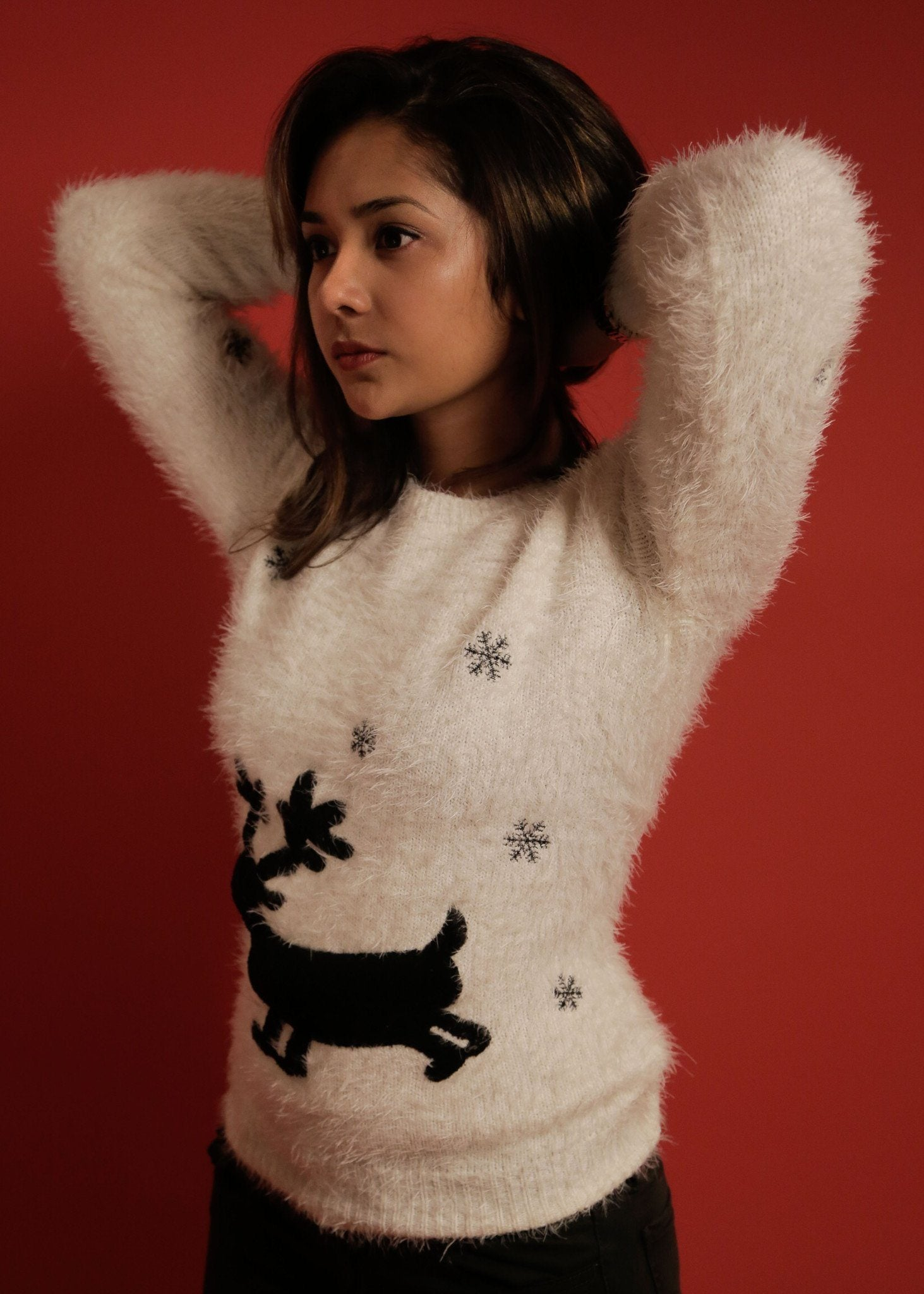 White Knitted Reindeer Sweater (Limited Edition)